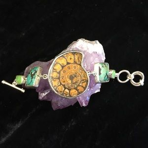 sterling turquoise gaspeite and ammonite bracelet